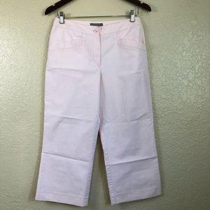 Ann Taylor blush pink pinstripe Capri Pants